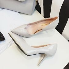Wet Look Pumps High Heels Pointed Toe Stilettos Patent Leather Party Women Shoes