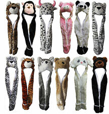 Plush Soft Ladies Kids Teens Wild Animal Hat with Hood Scarf Long Mittens Pocket