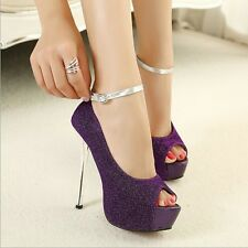 Slim High Heels Shoes Platform Stiletto Pumps Peep Toe Buckle Strap Women Sandal