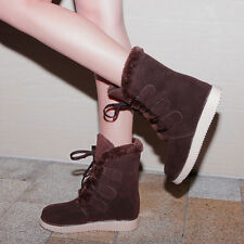 Winter Warm Womens Lace up Round toe Hidden Wedge Platform shoes Size Faux suede