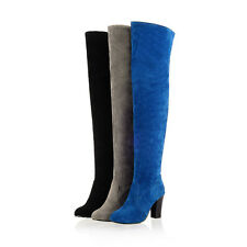 UK Ladies Block Heel Over The Knee Boots Faux Suede Thigh High Shoes Plus Size