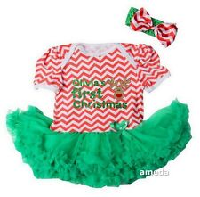 Personalized Name Baby First Christmas Reindeer Red Chevron Bodysuit Tutu Dress