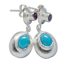 "Rare Larimar, Amethyst 925 Sterling Silver Earrings 1 1/4"" Jewelry E315672"
