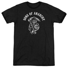Sons Of Anarchy Soa Reaper Mens Adult Heather Ringer Shirt Black