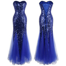 Angel-fashions Women's Strapless Sequins Lace up Long Evening Dress Blue 053