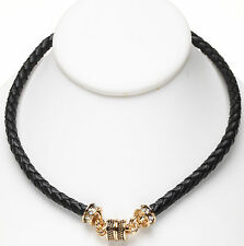 KIRKS FOLLY BRAIDED BLACK LEATHER MAGNETIC INTERCHANGEABLE goldtone