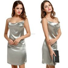 Women Sexy Backless Low Cut Shining Color Spaghetti Straps Party Prom Mini Dress