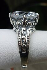 5ct Round Cut White Zirconia Sterling Silver Gothic Filigree Ring Size: Any/MTO