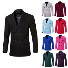 Mens Slim Double Breasted Outwear Business Casual Blazer Jacket Suit Basic Coat