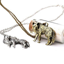 Retro Vintage Occident Wolf Pendant Charm Long Chain Sweater necklace Jewelry