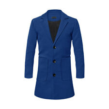 Men Notched Lapel Long Sleeves Two Pockets Slim Fit  Coat