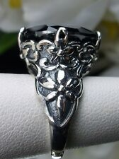 7ct Marquise Black Gem Solid Sterling Silver Floral Filigree Ring Size {MTO/Any}