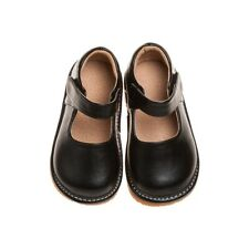Girl's Solid Black Leather Toddler Squeaky Shoes