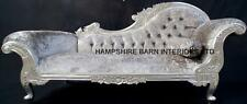 LARGE FRENCH CHAISE LONGUE SILVER LEAF MERCURY GREY CRYSTAL SOFA LOUNGE BEDROOM