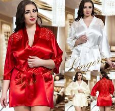 Nine X Satin Dressing Gown Plus Size Lingerie 8-26 Robe with Lace Back Wedding