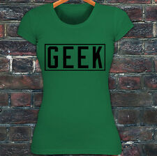 GEEK VIDEO GAMER NERD SMART DORK HUMOR FUNNY Womens Green T-Shirt
