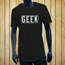 GEEK VIDEO GAMES NERD SMART DORK HUMOR FUNNY Mens Black Extended Long T-Shirt