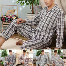 Mens Casual Plaids Pajamas Set Fit Sleepwear Long Sleeve Nightclothes Suit