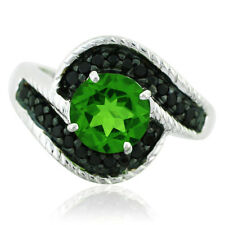 Chrome Diopside,Black Spinel 925 Sterling Silver Right Hand 2.59 ctw Ring GSR272