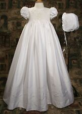 Girls White Christening Gown Baptism Dress Silk Dupioni HANDMADE Size 0-12M DP10