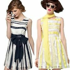 Removable Belt Ladies Lined Striped Women's Cocktail Party Mini Dress Sundress