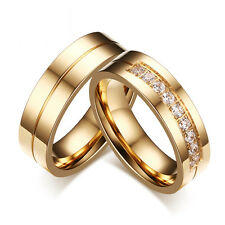 Women Men Couples Wedding Band Rings 18K Gold Plated CZ Stainless Steel Ring New