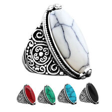 5 pcs Mixed Turquoise Rings Wholesale Lot Flower Antique Silver Plated Jewelry