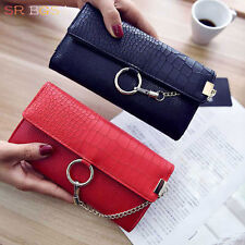 Black Red Gray Color Ring Chains Womens Leather Trifold Long Wallet  Purse