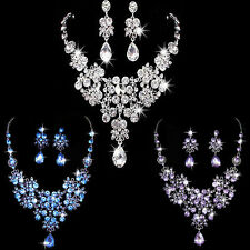 Crystal Rhinestone Wedding Bridal Prom Pendant Necklace & Earrings Jewelry Sets