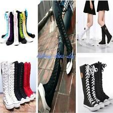 2017 Gothic PUNK Women Rock Boot Girls Shoes Sneaker Knee High Zip Laces Up - LD