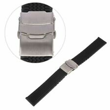 Silicone Rubber Wrist Watch Band Mens Diver Waterproof Strap Deployment Buckle