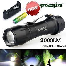 Zoomable 2000LM CREE Q5 LED Flashlight Power Lamp Torch Light w/ Battery+Charger