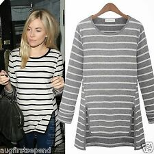 Leisure Striped Crew Neck Long Sleeve Womens Casual T-shirt Tops Tee Asymmetric