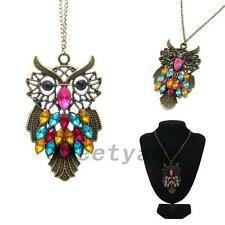 Colorful Crystal Rhinestone Sparkle Antique Owl Statement Chain Pendant Necklace