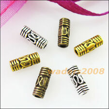 50 New Charms Tube Spacer Beads 3×8mm Tibetan Silver Gold Bronze Tone