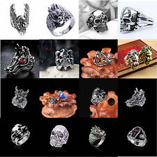 Cool Gothic Jewelry 1PC Punk Rock Men's Stainless Steel Skull Finger Band Ring