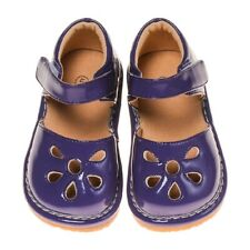 Girl's Leather Toddler Dark Purple Petal Patent Style Squeaky Shoes Sizes 1 to 6