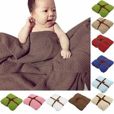Newborn Infant Baby Knit Crochet Cotton Swaddle Wrap Blanket Throw Sleeping Bag