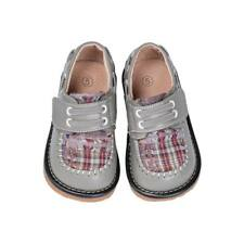 Discontinued Boy's Leather Toddler Grey Plaid Squeaky Shoes