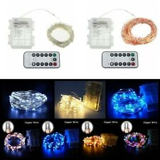 50/100LED Battery Powered Copper Wire LED String Xmas Fairy Light Remote Control