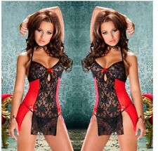 Women Chiffon Babydoll Dress Sexy Lingerie Lace Pajamas Stain Camisole Backless