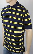 Ralph Lauren Navy Yellow Stripe Mesh Polo Shirt Classic Fit Burgundy Pony NWT