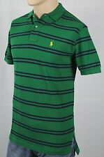 Ralph Lauren Green Blue Stripe Mesh Polo Shirt Classic Fit Yellow Pony NWT
