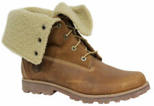 Timberland Roll Top Juniors Boots Boys Kids Brown Leather Fleece 50919 U52