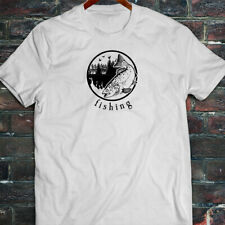 FISHING OUTDOORS FISH HUNTING TROUT LAKE CATCH Mens White T-Shirt