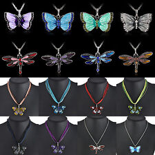 Hot Women Necklace Enamel Butterfly Crystal Cute Dragonfly Pendant Chain Jewelry