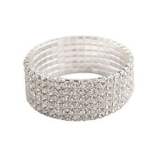 1PCS Clear Crystal Rhinestone Stretch Bracelet Bangle Wedding Wristband