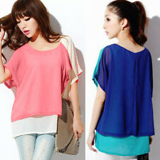 2-in-1 Chiffon Color Block Draped Crew Neck Womens Shirt Blouse Tops Asymmetric
