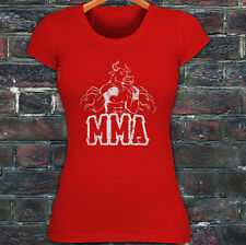 MMA FIGHTING BULL CAGE FIGHT MIXED MARTIAL ARTS Womens Red T-Shirt