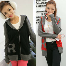 """Shawl Collar Letter """"R"""" Color Blocking Womens Cardigan Sweater Outwear Tops 7155"""